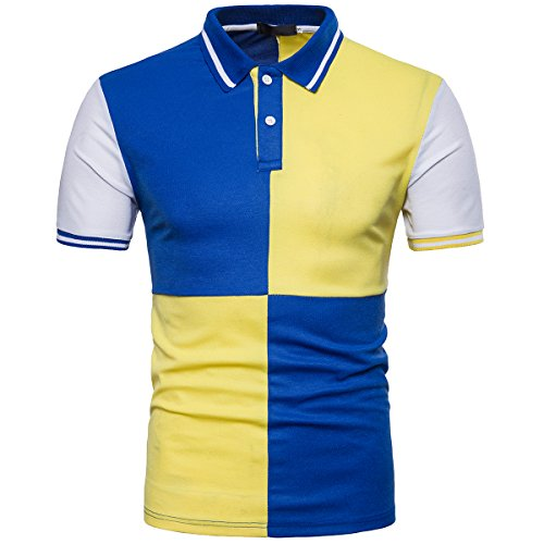 Cottory Men's Colorful Short Sleeve T-Shirt Improved Collar Athletic Polo Yellow Medium