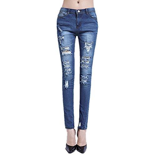 Grossartig Crayon Boyfriend Coton trou Jeans Femme (Color : Blue, Size : XL) Blue