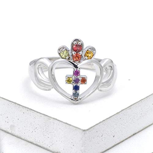 (EQUALLI Dublin Claddagh Celtic Ring in .925 Sterling Silver (Size: 10.25))