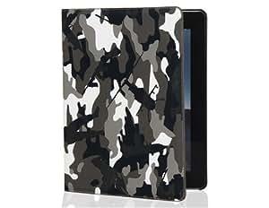 TR Camuflaje pu estuche de cuero con función de soporte para el nuevo iPad (Negro)