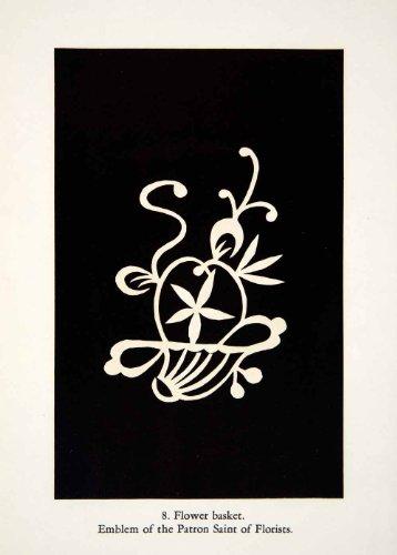 1949 Lithograph Flower Basket Jiangsu Patron Saint Florist Chinese Pattern Decor - Original In-Text Lithograph