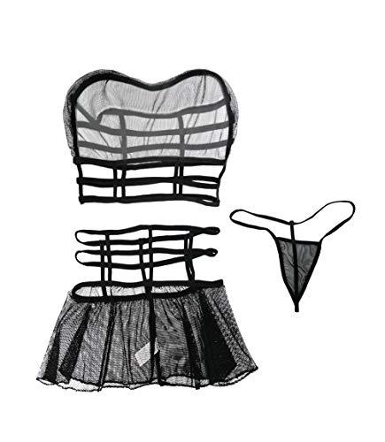 Olens Women Sexy Lace Mesh Lingerie Bra Top and Mini Skirt Nightwear Sleepwear Set Black (Star Skirt Big Mini)