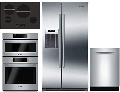 Bosch 4 Pcs Kitchen Package with B20CS30SNS 36″ sbs fridge, HBL87M52UC 30″ Elec. Double Wall Oven/Microwave Combo, NIT8068UC 30″ Elec. Cooktop and SHPM98W75N 24″ Built In Dishwasher in Stainless Steel