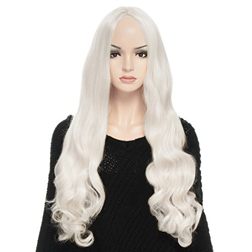 YOPO 32-Inch Long Curly Wigs with Wig Cap and Bobby Pins, (White Blonde Wig)