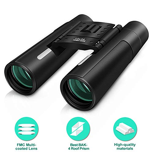 10×35 Compact Binoculars for Adults Kids, Wide Angle HD Binoculars for Bird Watching Hunting Concert Sports Travel, Weak Light Night Vision BAK4 Roof Prism FMC Multi-Coated Lens with Case