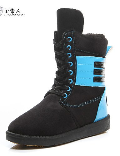 en de bleu Bout Wardrobe Flirty décontracté air Bottes Chaussures Rond à Citior Plein Chaussons Bottes Neige Talon Plat Bottes q6Sw7H
