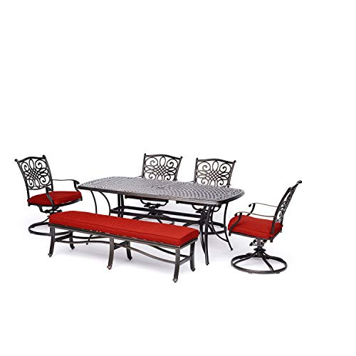 - Patio Dining Set. 6 Piece Outdoor Porch, Deck, Lawn, Pool, Garden, Balcony Diner, Conversation, Seating, Bistro, Chat Aluminum Furniture Kit. Outside Square Table, Chairs, Cushions, Sofa