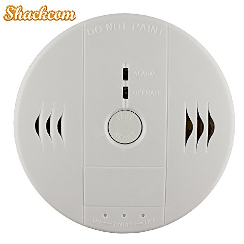 Shackcom Combination Smoke and Carbon Monoxide Detector Alarm, Protect Your Home from Fire and Gas Leaks, Even When You're Away, Battery Operated (Second Generation)