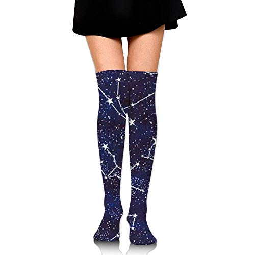 ZOZGETU Long Socks Glow In The Dark s Midnight Fabric By The Yard Compression Socks For Men & Women Fashion Over The Knee High Socks (65cm)