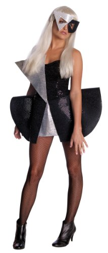 Lady Gaga Black Sequin Dress,Black/Silver,Standard Costume