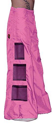 Ghast Unisex Cargo Drawstring Wideleg Mesh Pocket Rave Dance Pants, Fuchsia 38 Inch Waist