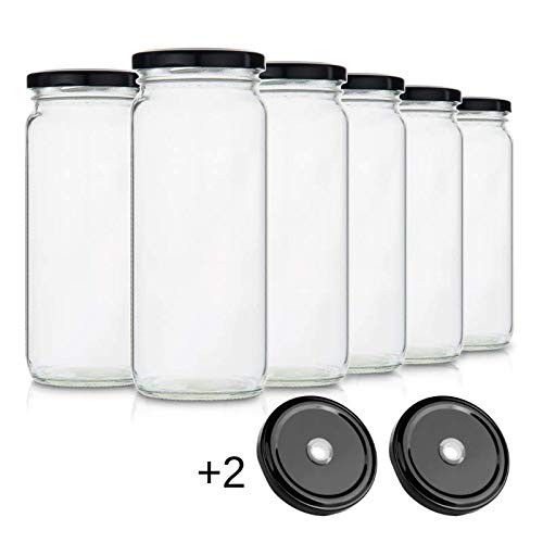 Glass Smoothie Jars with Lids for Drinking and Storage - Set of 6 | Water Bottle or Reusable Container for Juice, Milk, Kombucha, Bulk Foods, Beverages | 16 Oz Clear with Wide Mouth | Bonus Straw Lid (Best Smoothie Travel Container)