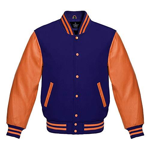 Fascinating Navy Blue Wool and Genuine Orange Leather Sleeves Varsity Jacket (L, Navy Blue)