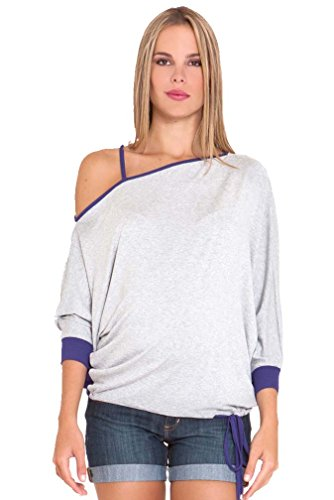 Olian Margarette One Shoulder Batwing Maternity Top - Heather Grey/Purple - X-Small/Small