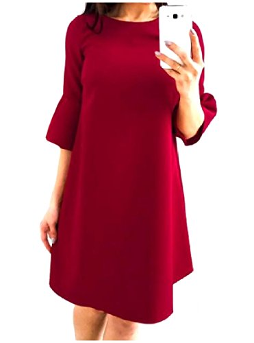 Coolred-femmes Perdent Pur O-cou Mi Robe Manches Pagode Manches Moitié Tops Vin Rouge