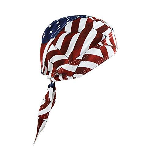 - HADM American Flag USA Skull Cap Head Wrap Biker Bandana DO-RAG Doo RAG DU RAG Turban Hats