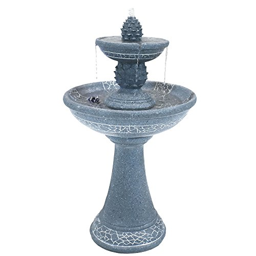 Sunnydaze Dual Pineapple Tiered Solar Power Outdoor Fountain with LED Lights, 34 Inches Tall