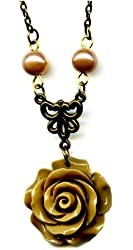 Brass and Tan Light Brown Resin Flower Rose Antiqued Bronze Pendant Necklace 18 Inches Vintage Style