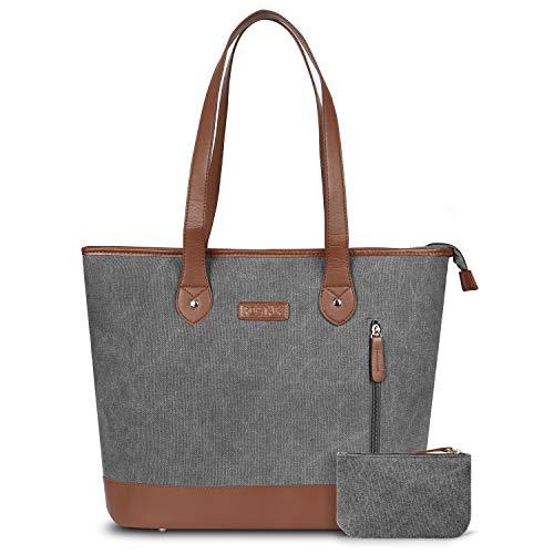 UtoteBag Women 15.6 Inch Laptop Tote Bag Notebook Shoulder Bag Lightweight Multi-Pocket Canvas Business Work Office Computer Briefcase (Dark Grey)