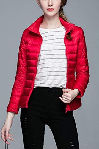 Rojo Pluma Stand Corto Mujer Plumas Cuello Fit Manga Fácil Coat Termica Unicolor Temporada Slim Invierno Larga Empacable De Abrigos Chaqueta Otoño rCqrwx6R0