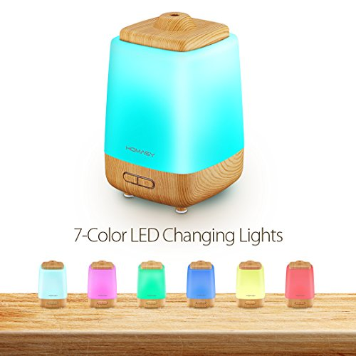Homasy Night Light Aroma Essential Oil Diffuser, 200ml Cool Mist Humidifier Whisper-Quiet, Waterless Auto Shut-off for Spa Home Office Baby-Room
