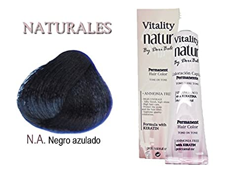 Tinte Vitality Natur Sin Amoniaco + Keratina 60ml. Tono Negro Azulado: Amazon.es: Belleza