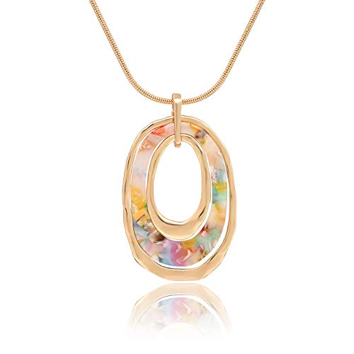 Pendant Triple Drop Circle (MOLOCH Long Necklace for Women Girls Geometry Oval Acrylic Resin Circle Pendant Necklace Statement Boho Acetate Ring Hoop Necklace Minimalist Gift (Floral))