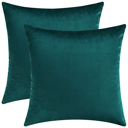 - Mixhug Set of 2 Cozy Velvet Square Decorative Throw Pillow Covers for Couch and Bed, Teal, 18 x 18 Inches