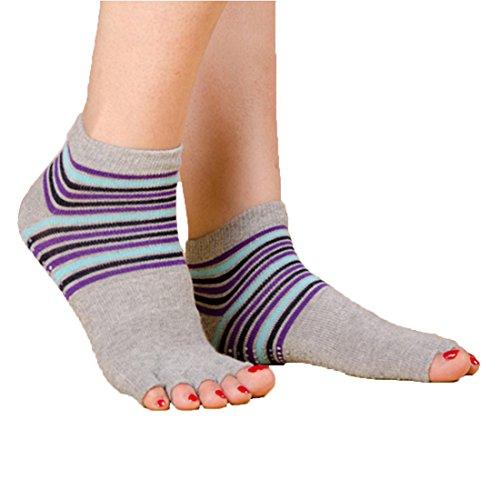 Jiexing Non Slip Breathable Half Toe Ankle Grip Yoga Socks for Women-White