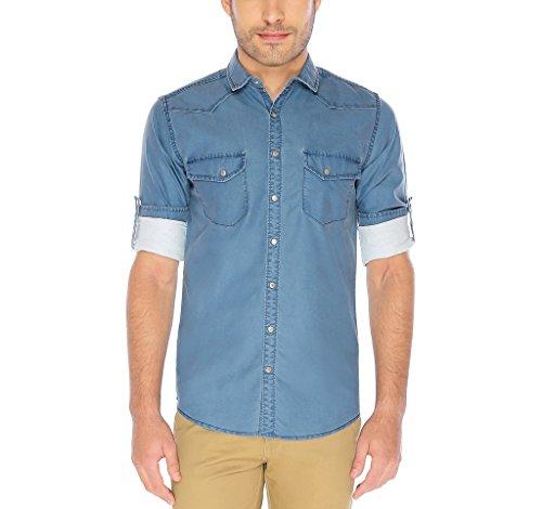 nick&jess Herren Freizeit-Hemd blau blau