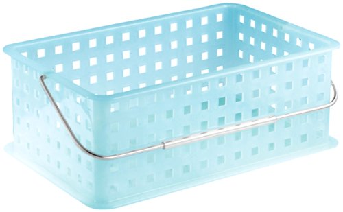 InterDesign Storage Organizer Basket, with Handle for Bathroom, Health and Beauty Products - Medium, Water from InterDesign
