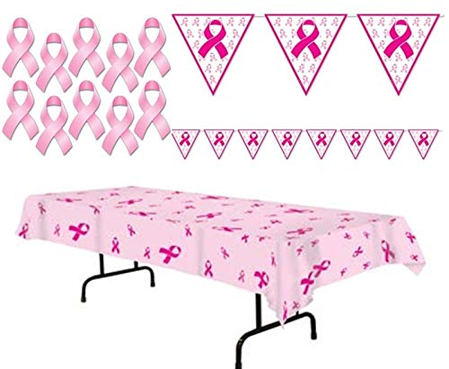 happy deals Pink Ribbon Breast Cancer Awareness Decorating Pack - 3 pc Tablecloth, Banner, Cutouts]()