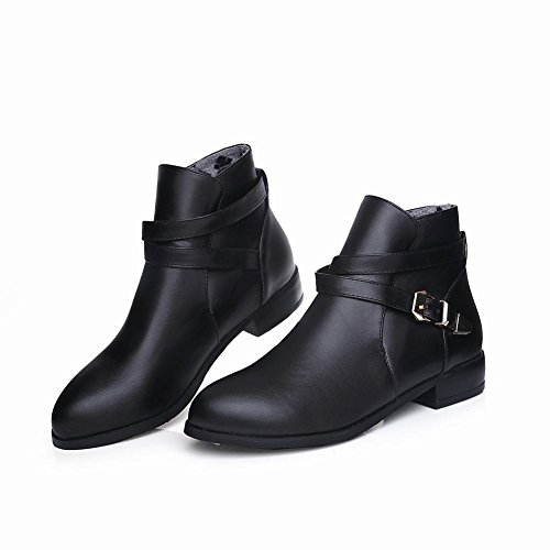 Latasa Womens Buckle and Strap Low Heel Ankle Boots Black tyA3lT