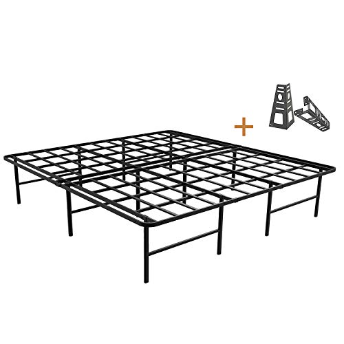(ZIYOO 16 Inch Platform Bed Frame Base, Mattress Foundation, Box Spring Replacement, Quiet Noise-Free, Headboard-Bracket Included, King)