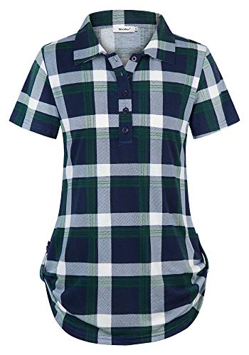 Sixother Plaid Shirt for Women, Sleeveless Turtlenecks Cute Polyester Gingham Tunic for Winter Flattering Roll Shirttail Maternity Nursing Misses Ladies Tops Stylish Feminine Notch Collar Blouse Green ()