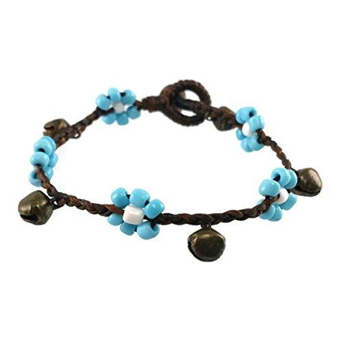 2 Pcs Blue Oriental Flower Bead Bracelet Wax String Brass Bell Bohemian Wristband Fashion Accessories