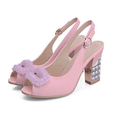 Allhqfashion Donna Materiale Morbido Peep Fibbia Toe Tacchi Sandali Solidi Rosa