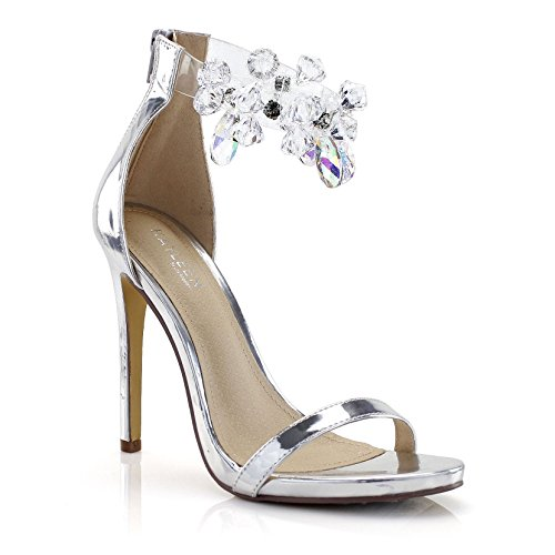 FOREVER VOGUE Clear Ankle Strap with Faux Gem Open Toe Stiletto Heel Sandals, Silver, 9 M (Clear Shoes Rhinestones)