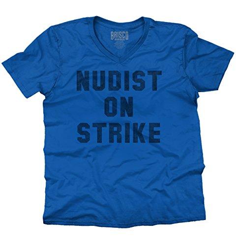 Nudist On Strike Fashion Funny Humor Cool Trendy Hip Novelty V-Neck T-Shirt
