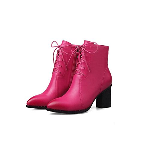 Women's Winter Pointed Toes Chunky High Heel Ankle Boots Shoes Leather Slim Martin Boots ROSERED-120W gZIsDRt