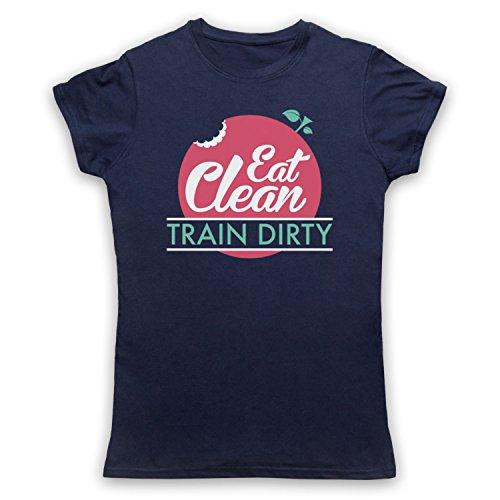Eat Clean Train Dirty Camiseta para Mujer Azul Marino