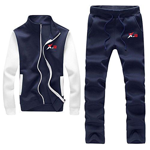 X-2 Athletic Full Zip Fleece Tracksuit Jogging Activewear White-Sleeve Navy -