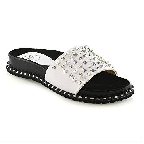ESSEX GLAM Womens Flat Sliders Studded Slip On Mule Ladies Summer Holiday Sandals Shoes 3-8 White f5vClFSu