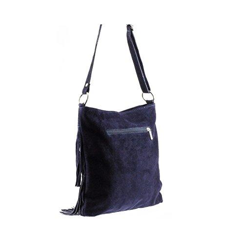Olivia - Sac à main / bandoulière Cuir velours bleu marine RIMINI N1089 - Bleu, Cuir