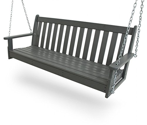 CASA BRUNO Original Porch Swing Hängeschaukel / Gartenschaukel aus recyceltem Polywood® HDPE Kunststoff, schiefergrau - kompromisslos wetterfest