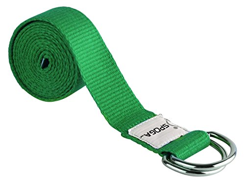 Spoga Yoga Straps, 6 Foot with D-Ring Buckle, Green