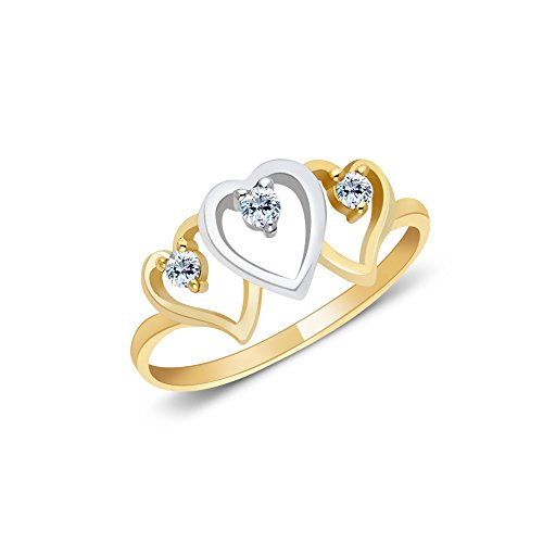 Ioka - 14K Two Tone Solid Gold Triple Heart CZ Ring - Size 7