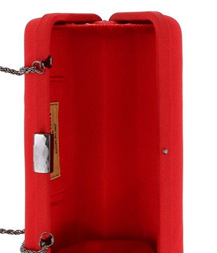 Red Clutch Satin Womens Crimson Box for Scheilan qnF7x6wUHv