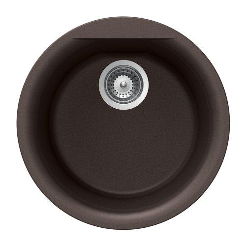 Houzer EURO R-100 MOCHA Euro Series Undermount Granite 17.125x17.125x8 0-hole Single Bowl Bar/Prep Sink, Mocha