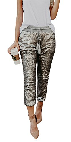 Silver Jogger (Gobought Women's Sexy Solid Sequin Drawstring Medium Waist Pants Joggers Capris Trousers)